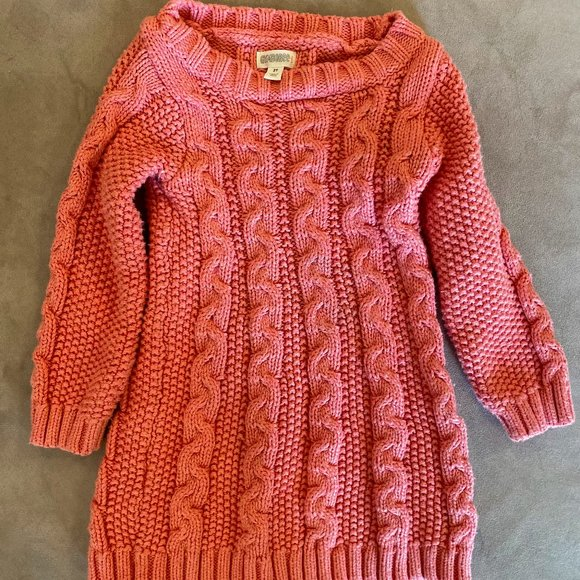 Gymboree pink cable knit sweater dress